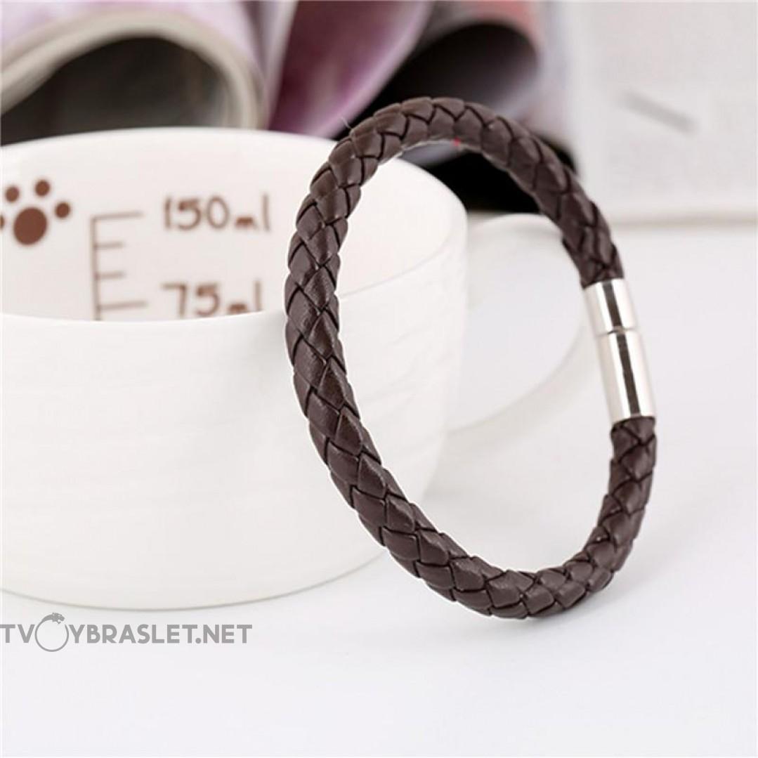 Браслет кожаный плетеный коричневый Твой Браслет LTH067