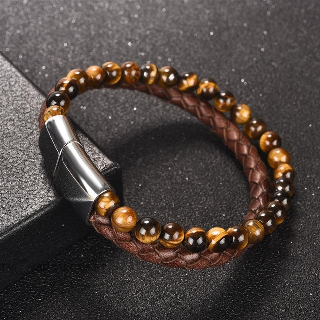 Браслет двухслойный кожаный камень Тигровый глаз коричневый Твой Браслет LTH072