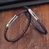 Браслет кожаный с магнитной застежкой черный/коричневый Твой Браслет LTH076