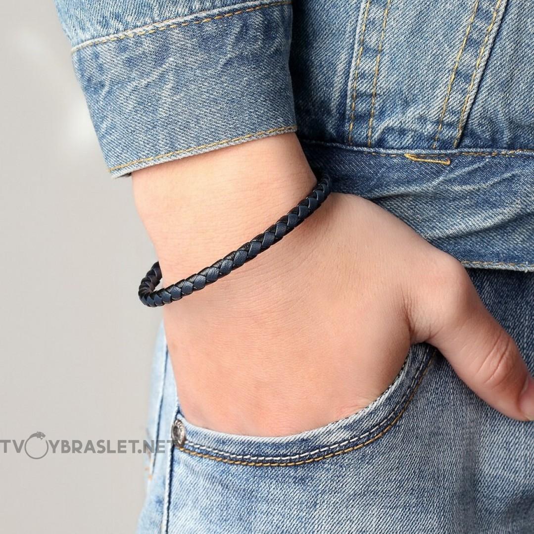 Браслет кожаный с магнитной застежкой черный/синий Твой Браслет LTH077