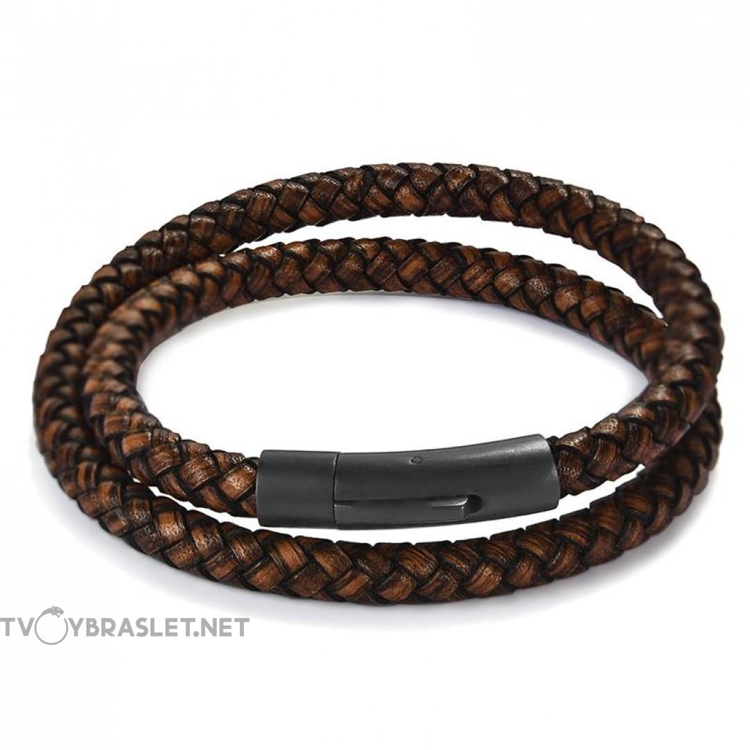 Браслет кожаный в два оборота с магнитной застежкой темно-коричневый Твой Браслет LTH079