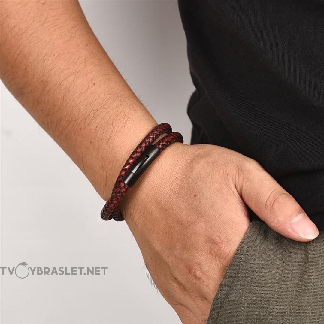 Браслет кожаный в два оборота с магнитной застежкой коричнево-красный Твой Браслет LTH080