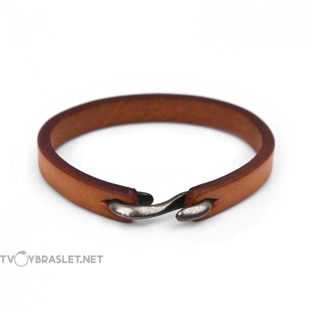 Браслет кожаный светло-коричневый с застежкой крюком Твой Браслет LTH088