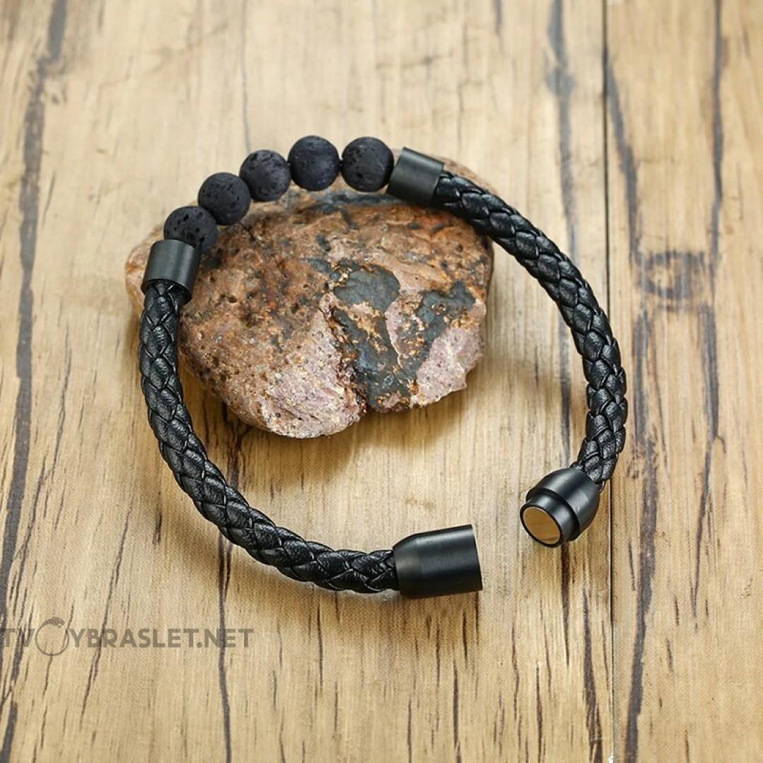 Браслет кожаный с камнями из лавы Твой Браслет LTH090