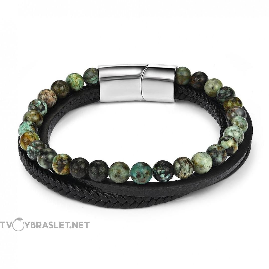 Браслет трехслойный кожа камень Яшма зеленая черный Твой Браслет LTH091