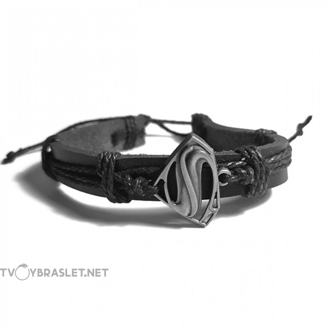 Браслет кожаный регулируемый черный Твой Браслет LTH095