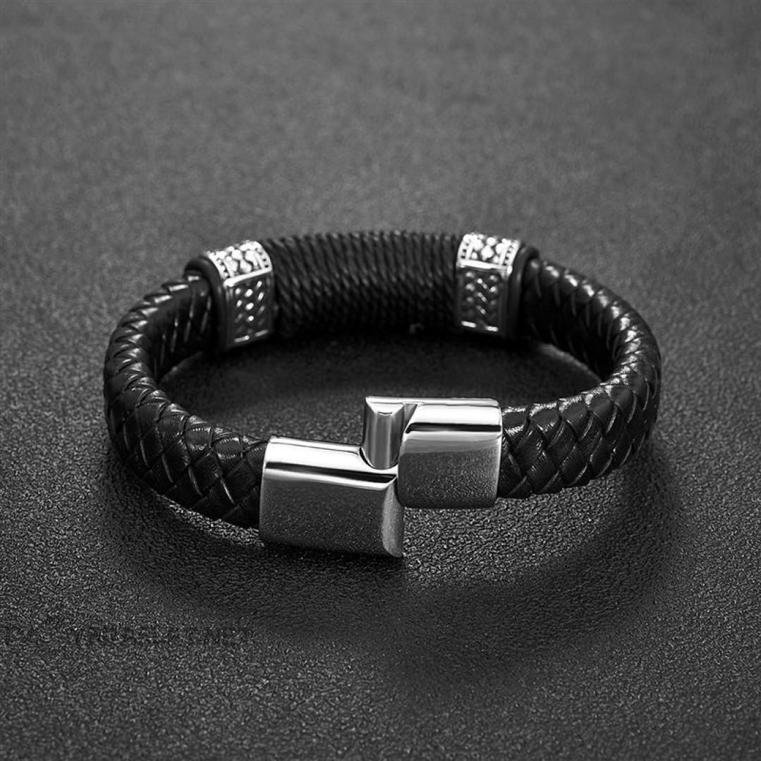 Браслет кожаный черный с веревочным плетением Твой Браслет LTH097
