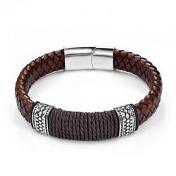 Браслет кожаный коричневый с веревочным плетением Твой Браслет LTH098