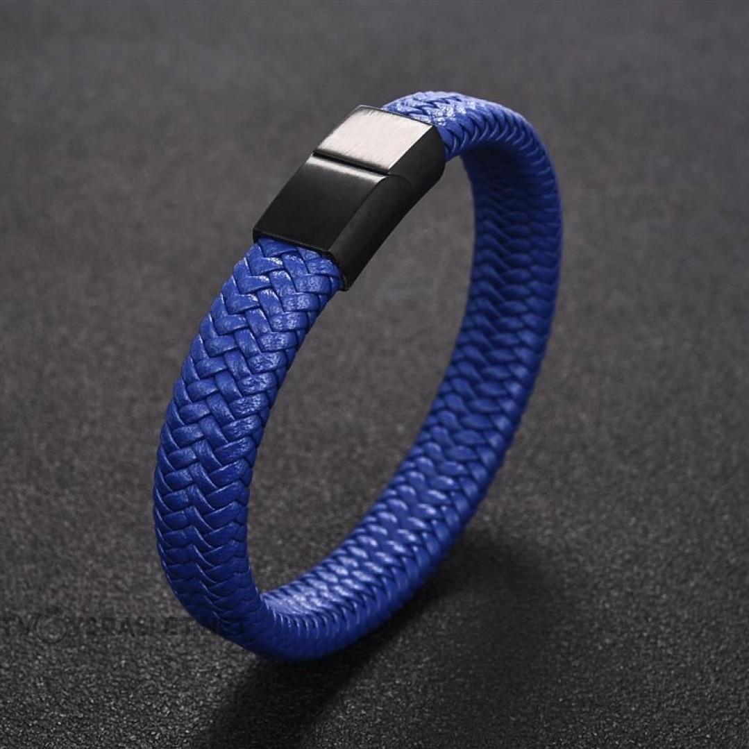 Браслет кожаный синий с магнитной черной застежкой Твой Браслет Black LTH102