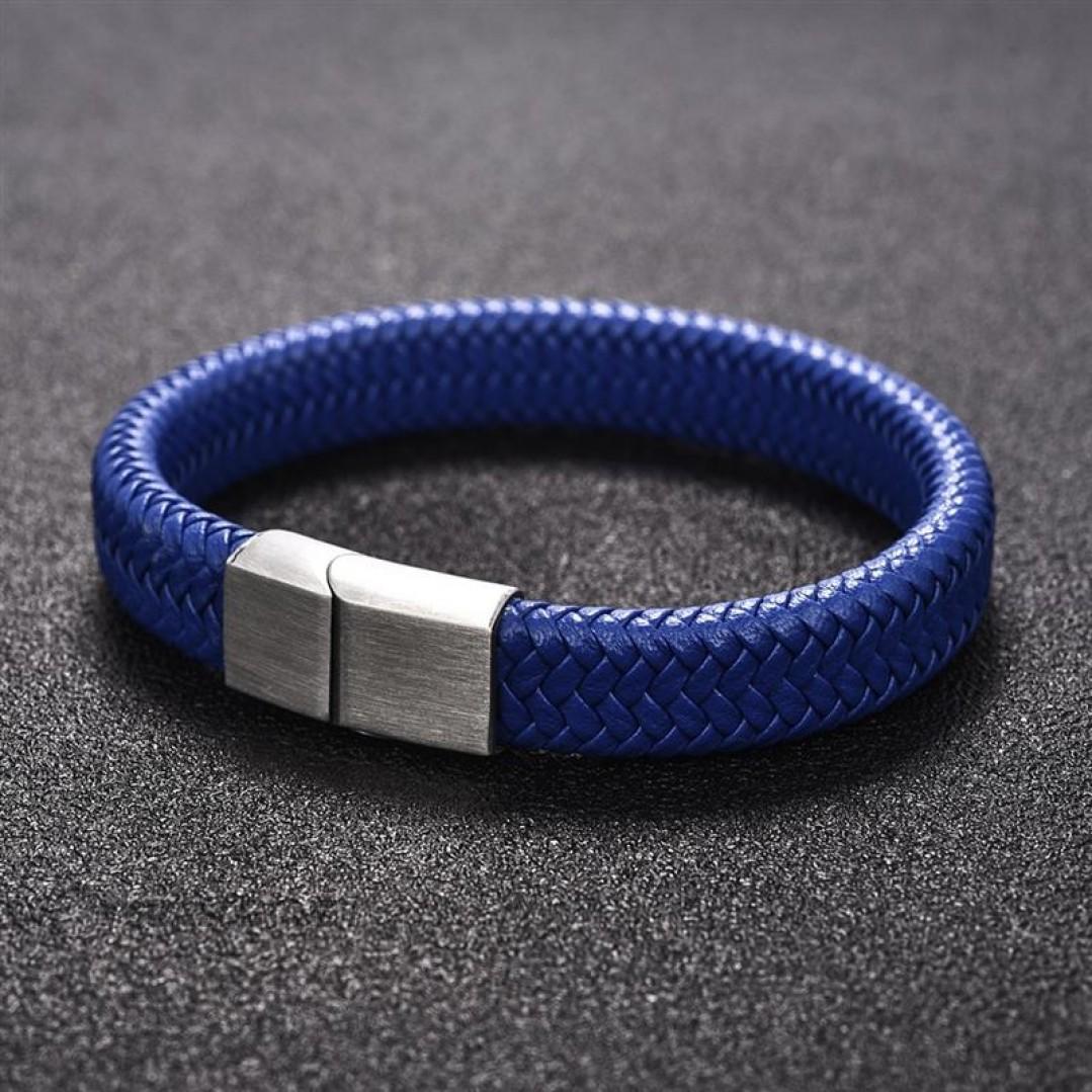 Браслет кожаный синий с магнитной стальной застежкой Твой Браслет Steel LTH103