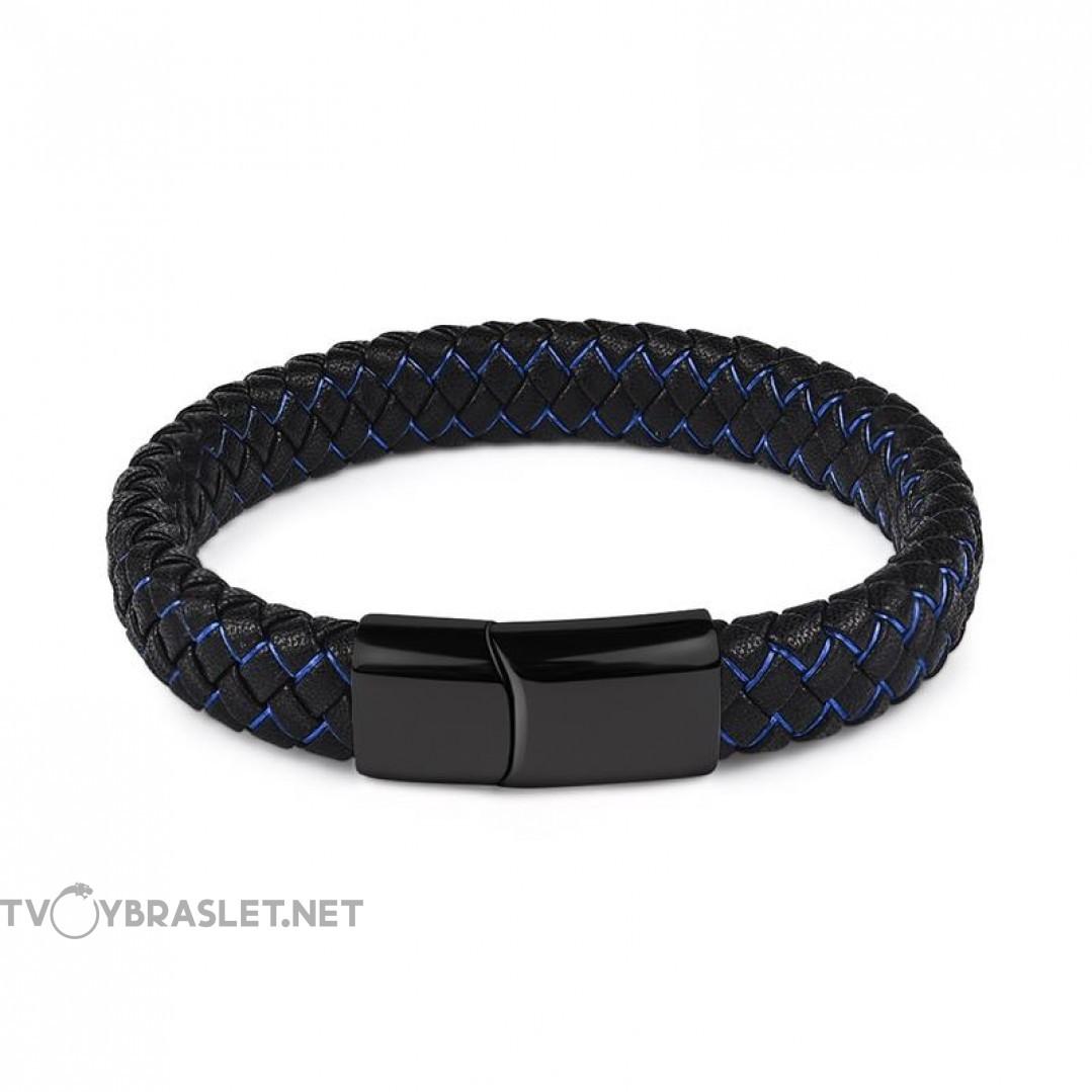 Браслет кожаный черный с синим с магнитной черной застежкой Твой Браслет Black LTH104