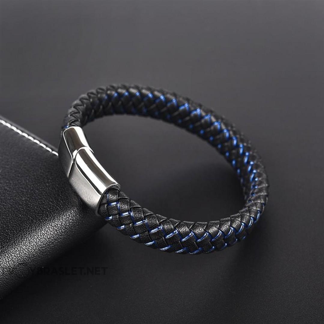 Браслет кожаный черный с синим с магнитной стальной застежкой Твой Браслет Steel LTH105