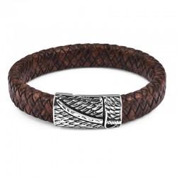 Браслет кожаный со стальным замком-пряжкой коричневый Твой Браслет LTH106