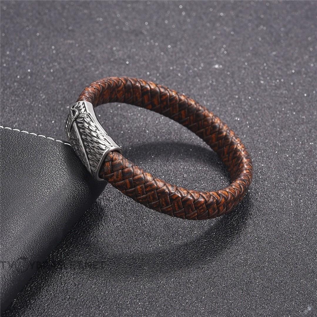Браслет кожаный коричневый со стальным замком-пряжкой Твой Браслет LTH106