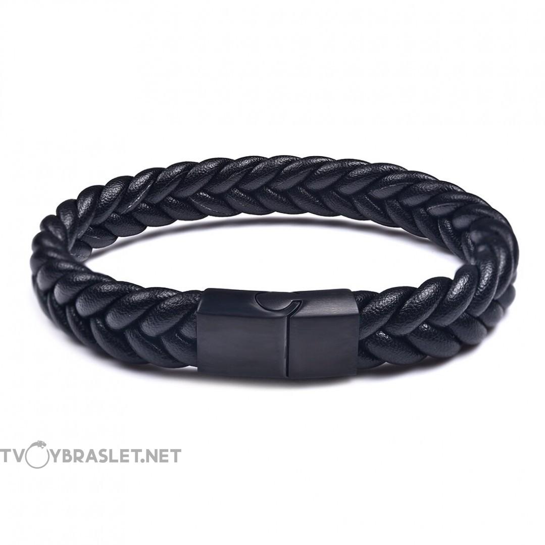 Браслет кожаный плетеный черный с магнитным замком Твой Браслет LTH108