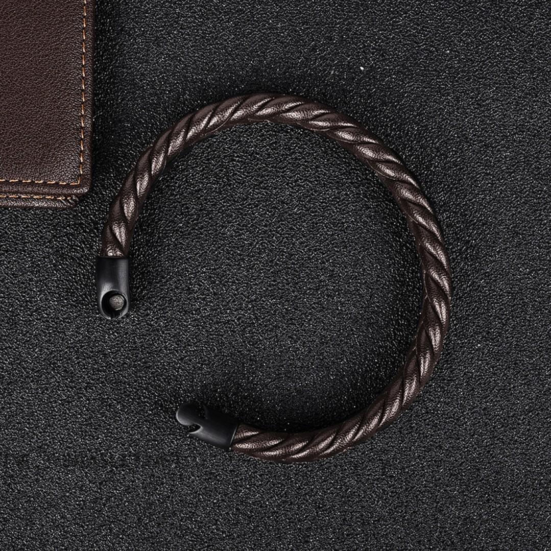 Браслет кожаный плетеный коричневый с магнитным замком Твой Браслет LTH109