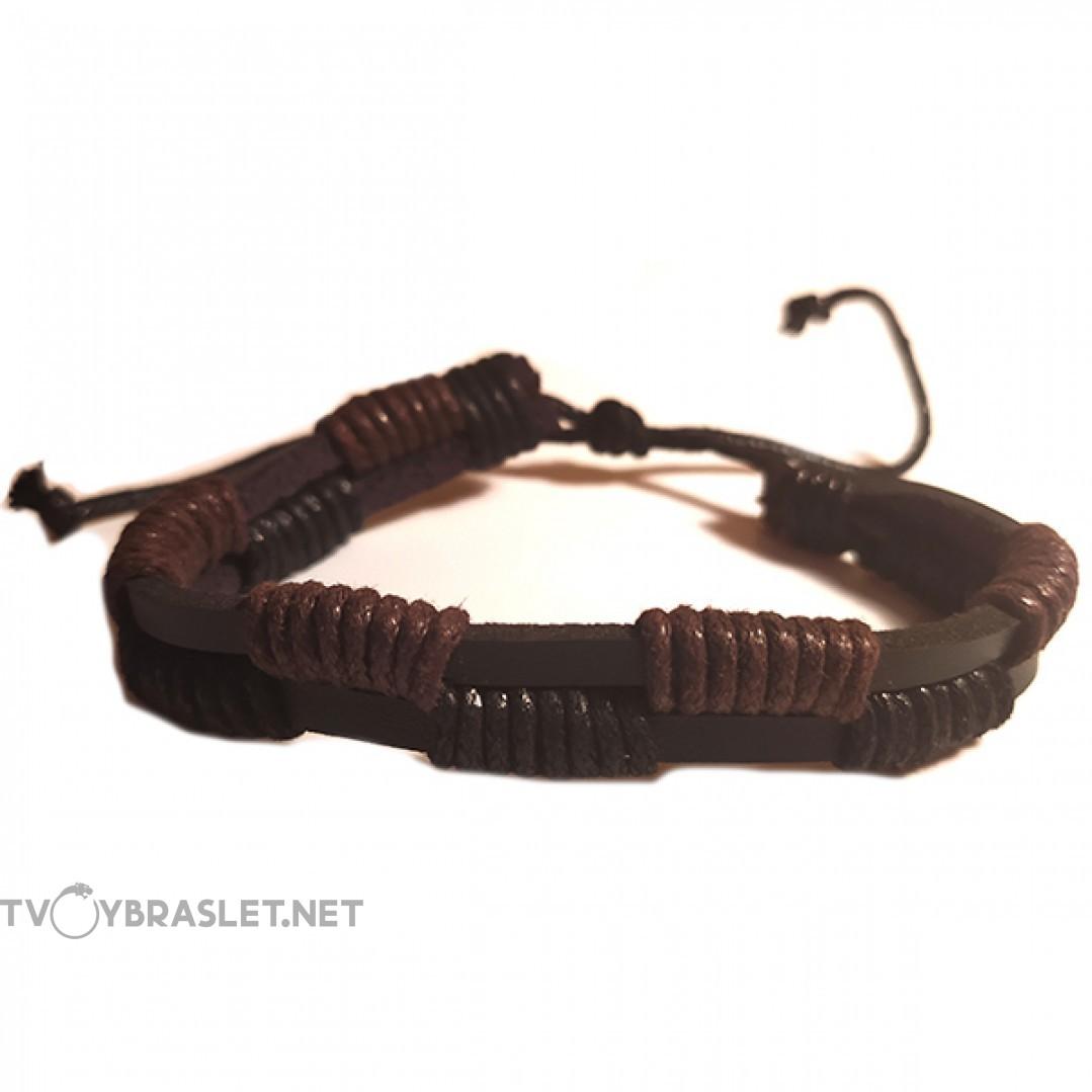 Браслет двухслойный кожаный черный Твой Браслет LTH113