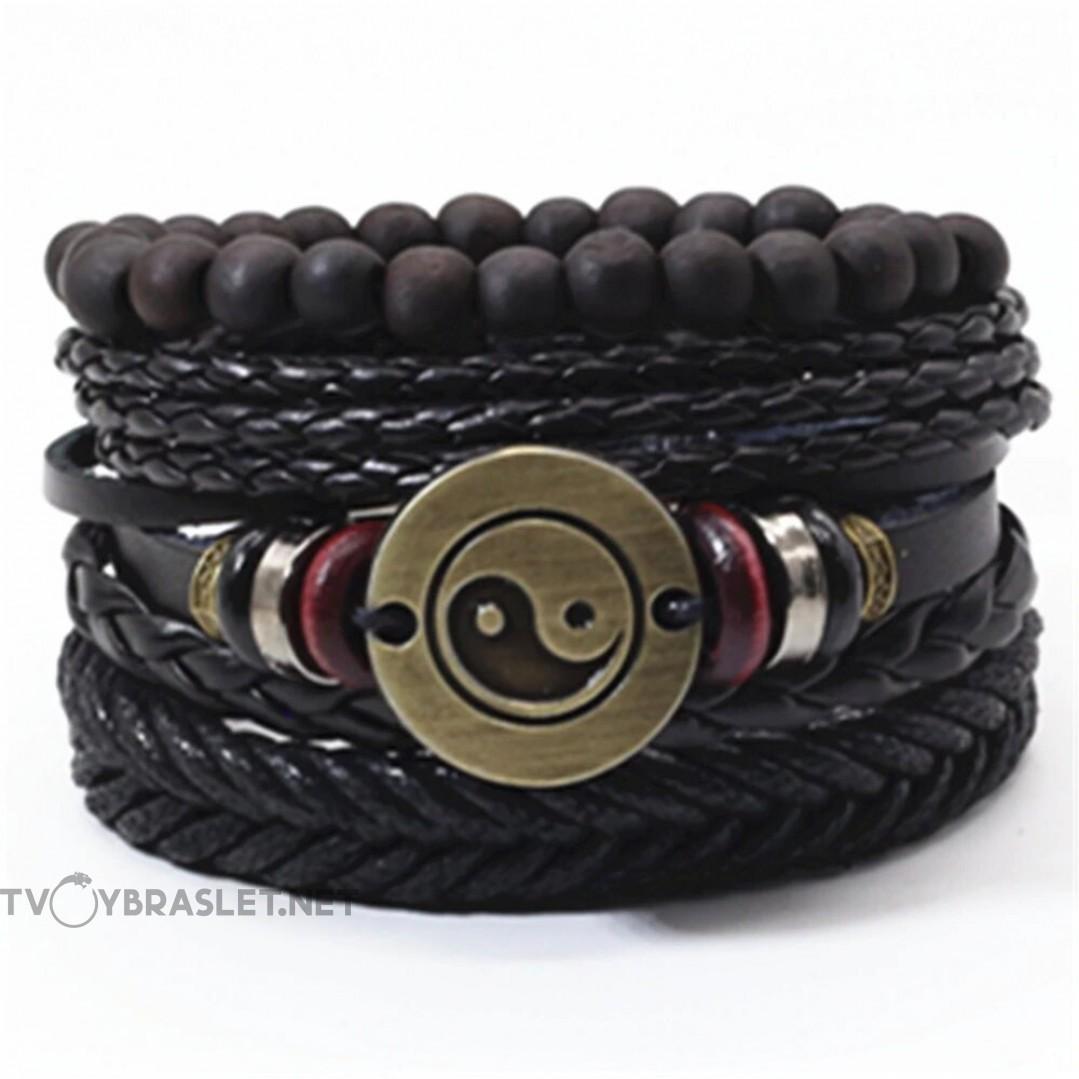 Комплект кожаных браслетов Инь-Янь 4 шт Твой Браслет LTH117