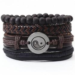Комплект кожаных браслетов Инь-Янь 4 шт Твой Браслет LTH118