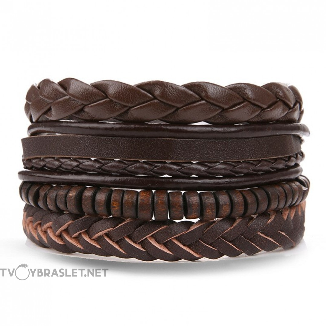 Комплект кожаных браслетов коричневый 4 шт LTH119