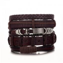 Комплект кожаных браслетов коричневый 5 шт Твой Браслет LTH120