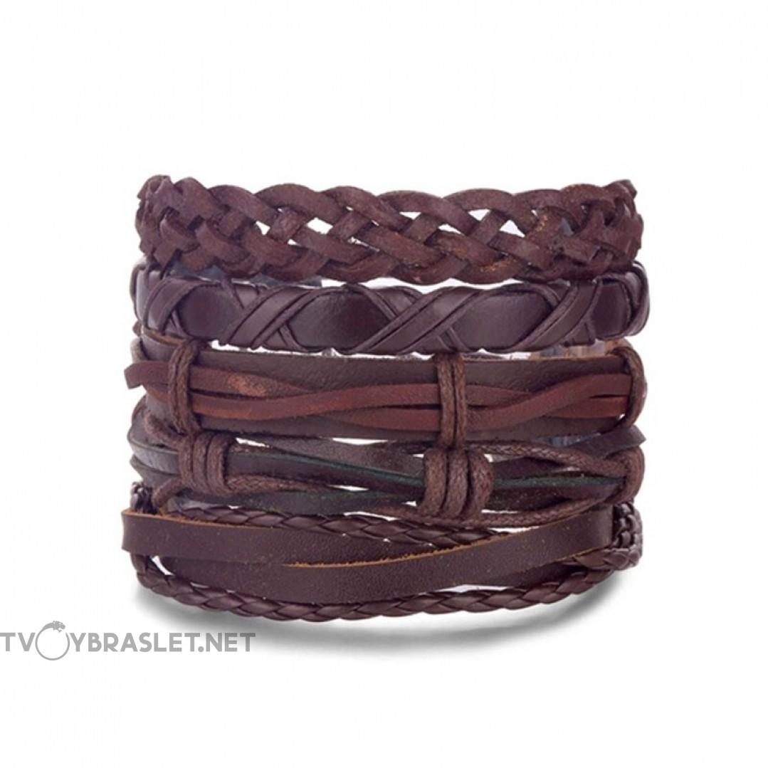 Комплект кожаных браслетов коричневый 5 шт Твой Браслет LTH121