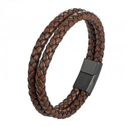 Браслет кожаный двухслойный коричневый Vintage Твой Браслет LTH124