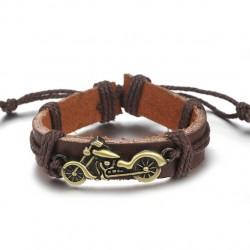 Браслет кожаный регулируемый с мотоциклом коричневый Твой Браслет LTH126