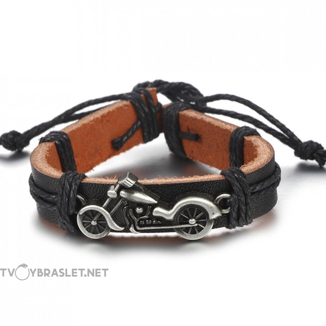 Браслет кожаный регулируемый с мотоциклом черный Твой Браслет LTH127