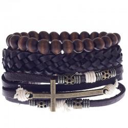 Комплект кожаных браслетов с крестом Твой Браслет 3 шт LTH132