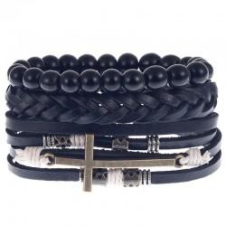Комплект кожаных браслетов с крестом Твой Браслет 3 шт LTH133