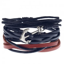 Комплект кожаных браслетов с якорем Твой Браслет 3 шт LTH134