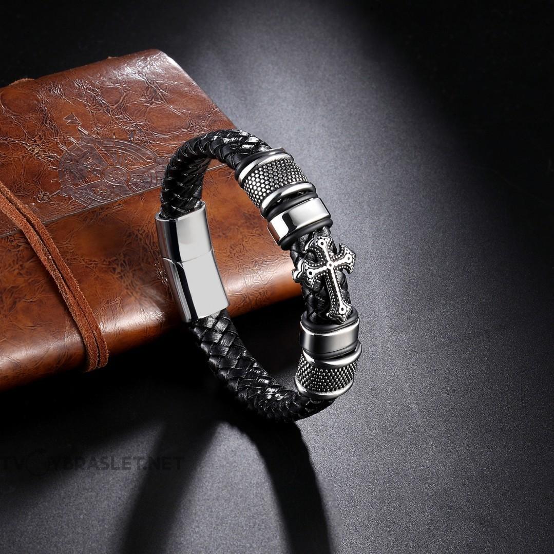 Браслет кожаный со стальным крестом черный Твой Браслет LTH135