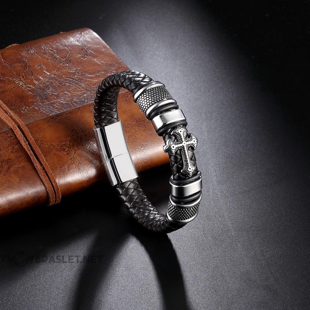Браслет кожаный со стальным крестом темно-коричневый Твой Браслет LTH136