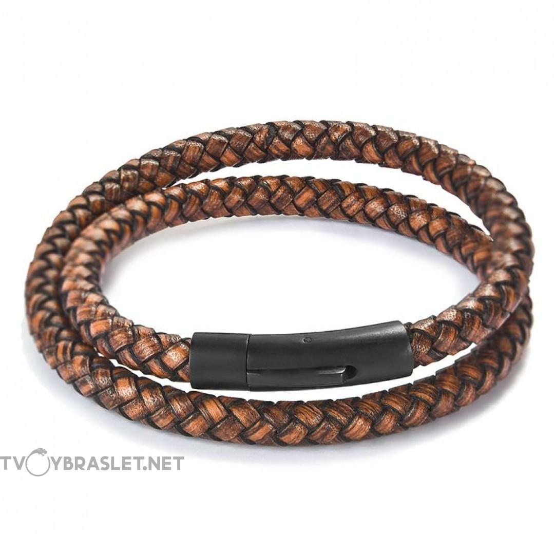 Браслет кожаный в два оборота с магнитной застежкой коричневый Твой Браслет LTH137