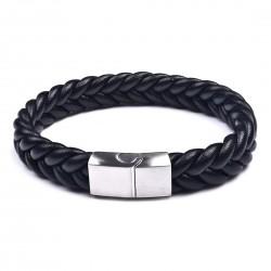 Браслет кожаный плетеный черный с магнитным замком Steel Твой Браслет LTH138