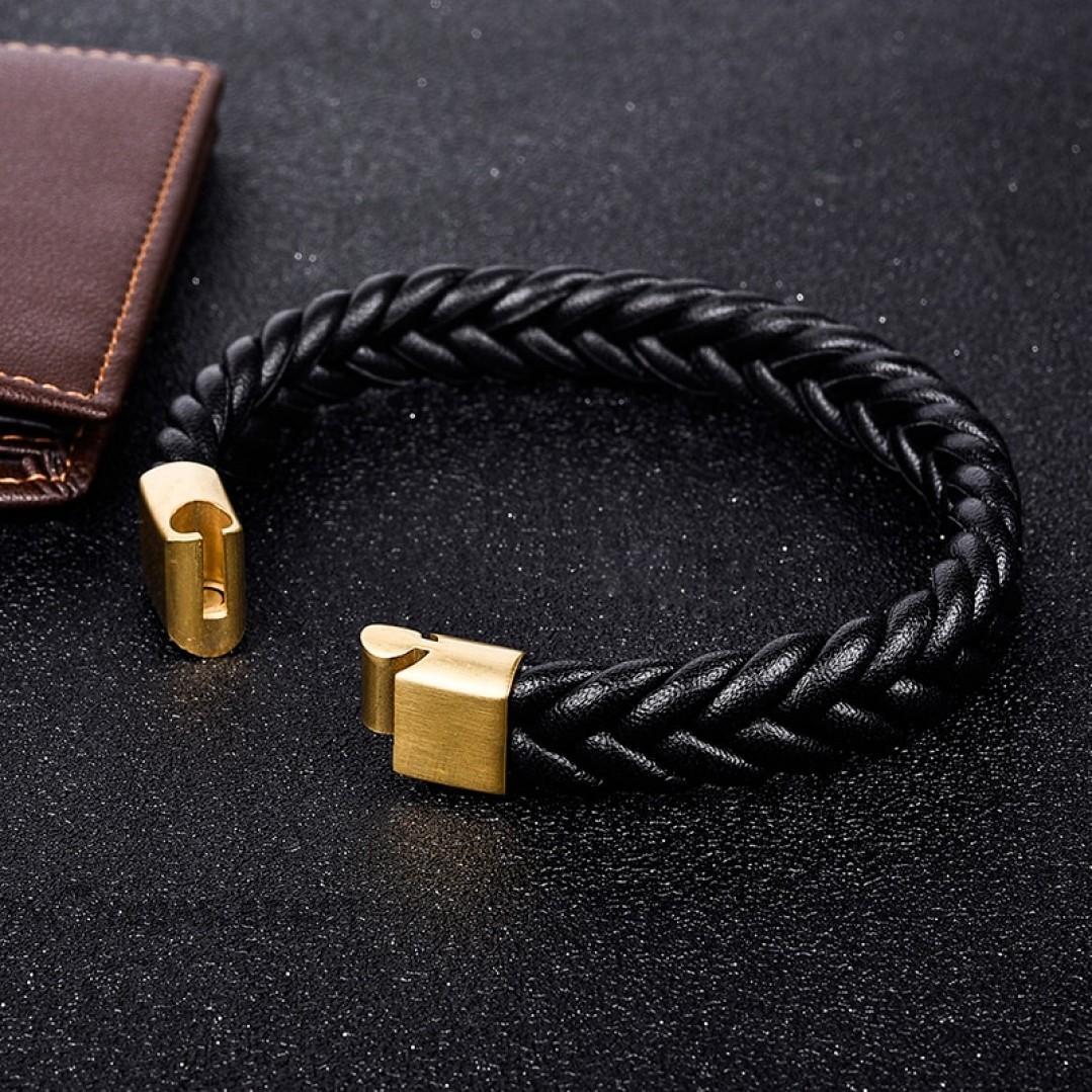 Браслет кожаный плетеный черный с магнитным замком Gold Твой Браслет LTH139