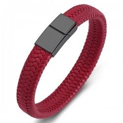Браслет кожаный красный с магнитным замком Твой Браслет Black LTH142