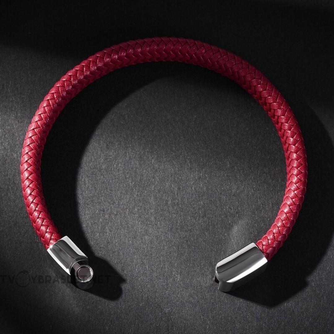 Браслет кожаный красный с магнитным замком Твой Браслет Silver LTH144