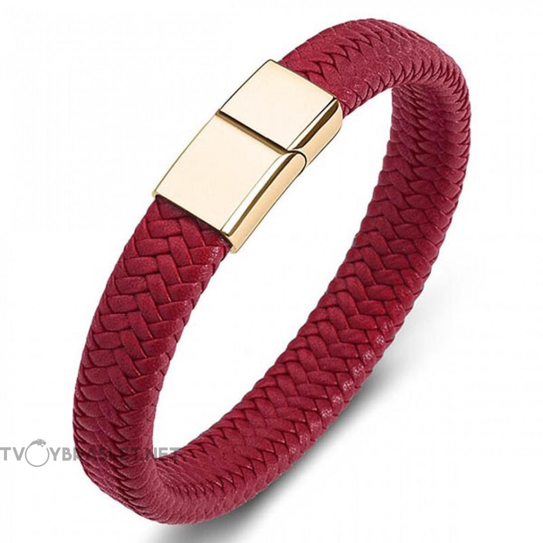 Браслет кожаный красный с магнитным замком Твой Браслет Gold LTH145