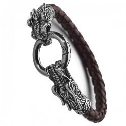 Браслет кожаный Кольцо Дракона 21 см коричневый Твой Браслет LTH146