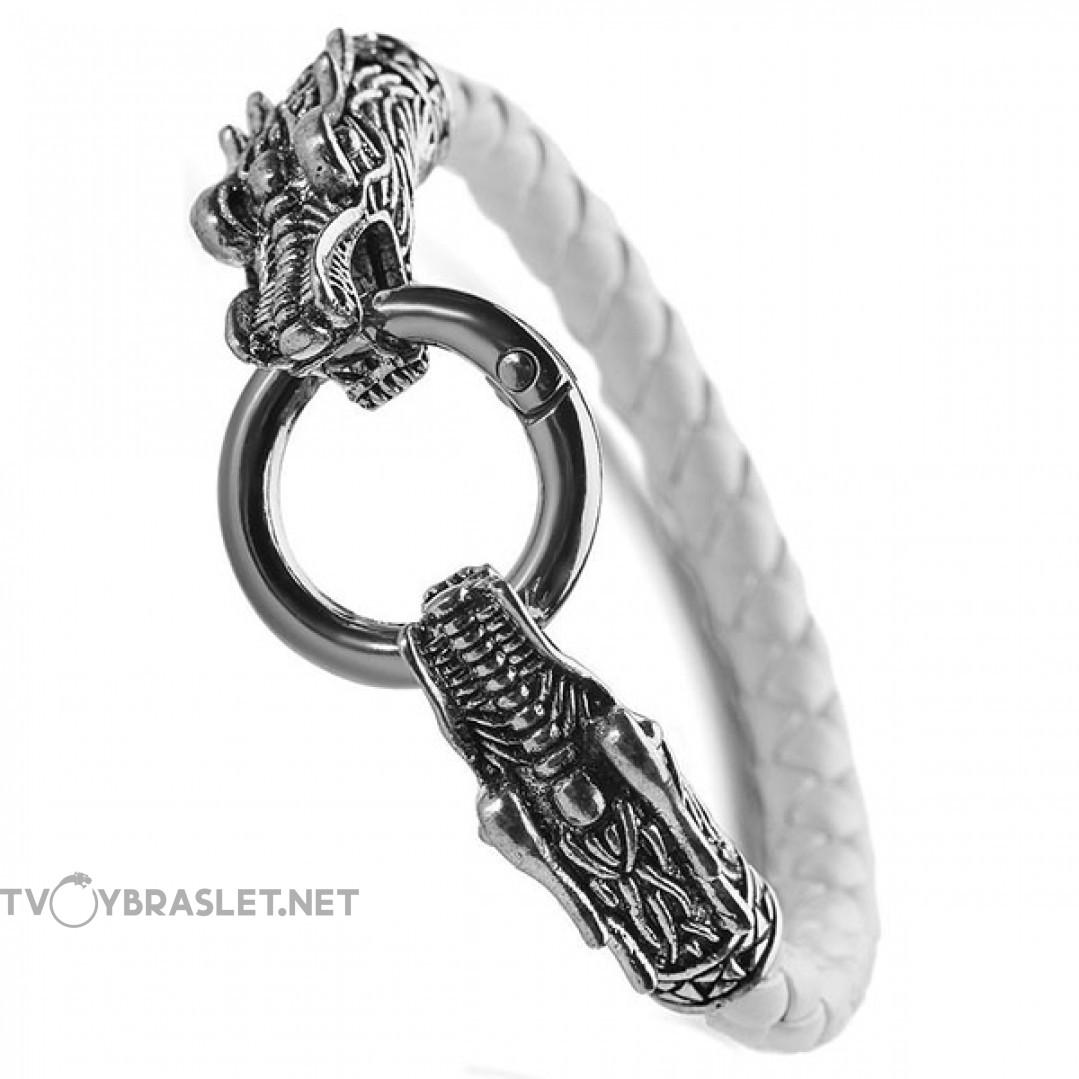 Браслет кожаный Кольцо Дракона 21 см белый Твой Браслет LTH147