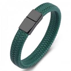 Браслет кожаный зеленый с магнитным замком Твой Браслет Black LTH149