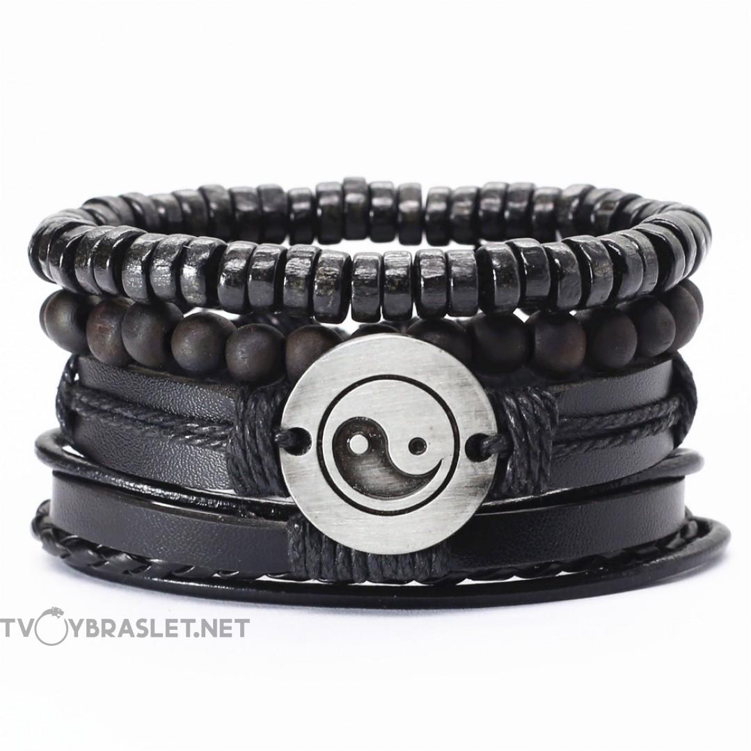 Комплект кожаных браслетов Инь-Янь 4 шт Твой Браслет LTH154
