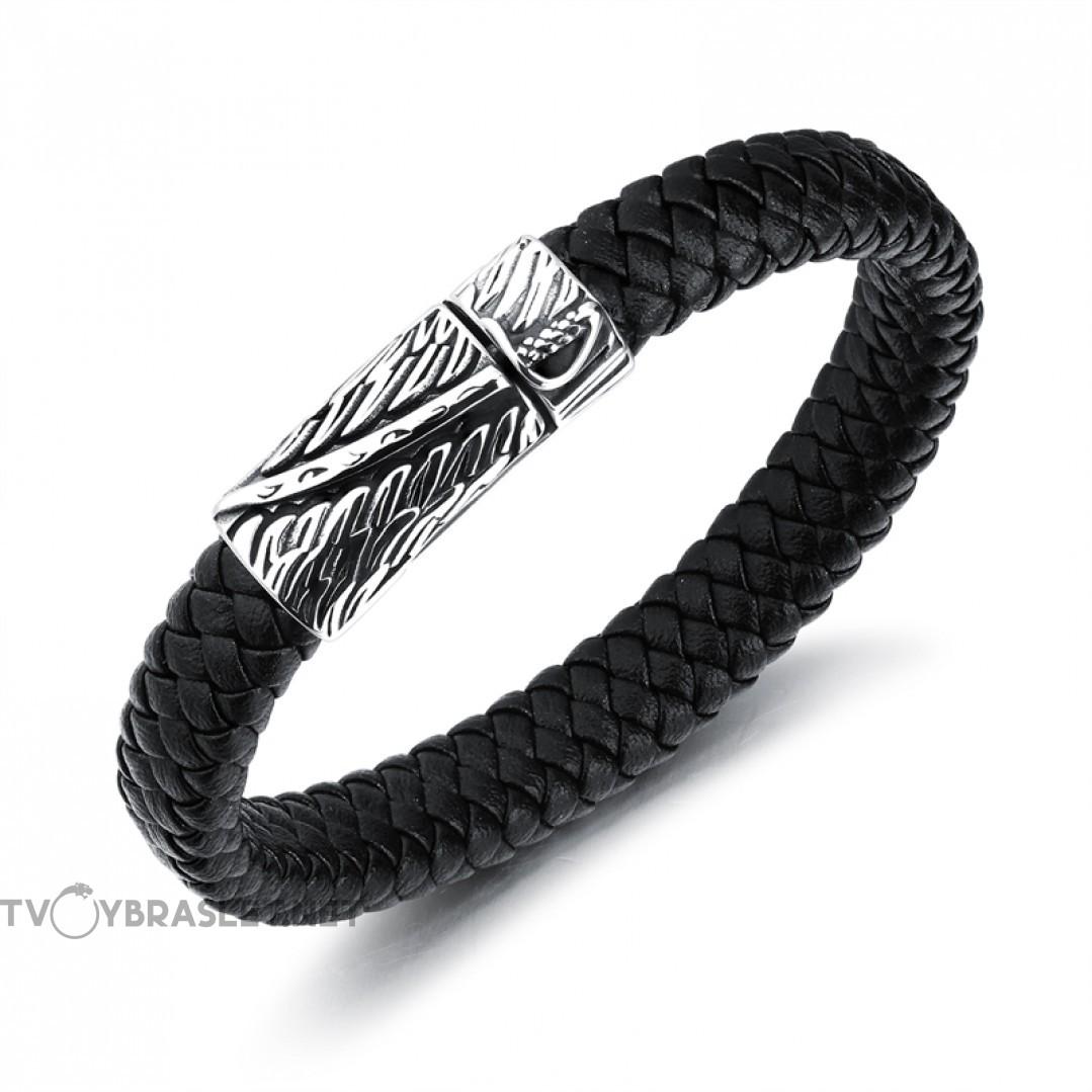 Браслет кожаный со стальным замком-пряжкой черный Твой Браслет LTH156