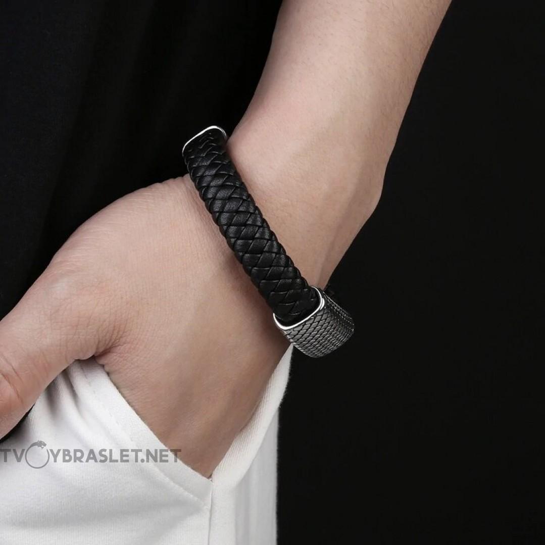 Браслет кожаный со стальной пряжкой черный Silver Твой Браслет LTH157
