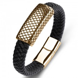 Браслет кожаный со стальной пряжкой черный Gold Твой Браслет LTH158
