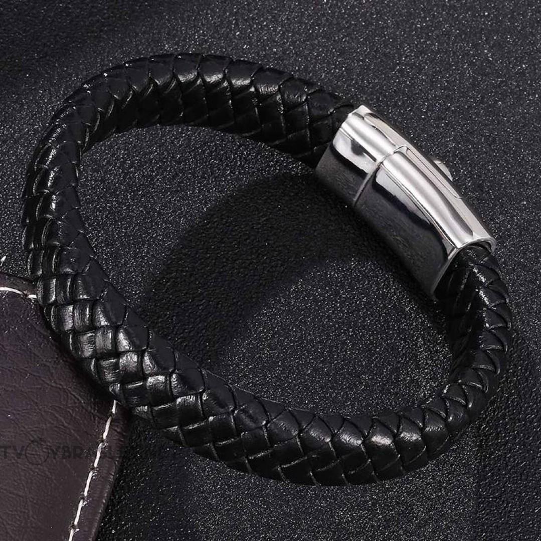 Браслет кожаный Инь-янь со стальным магнитным замком Твой Браслет LTH159