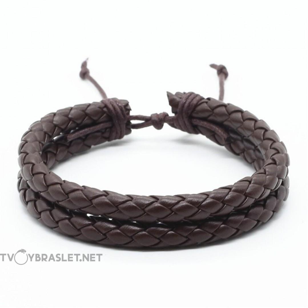 Браслет кожаный плетеный два слоя коричневый Твой Браслет LTH161