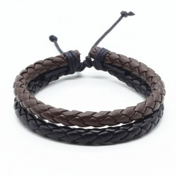 Браслет кожаный плетеный два слоя черный/коричневый Твой Браслет LTH162